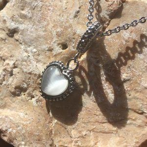 BOGOStainless Steel Opal Heart Jewlery Set