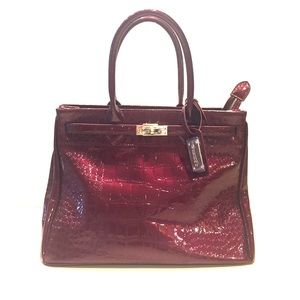 Stauer Burgundy Patent Leather Handbag