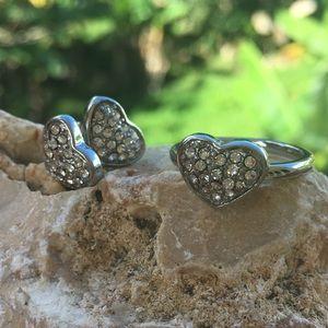 BOGOStainless Steel Heart Ring and Earring Set