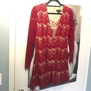 STYLESTALKER Love Machine (M) lace-up front dress