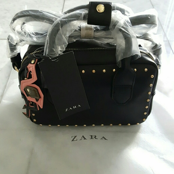 Zara Handbags - Zara Black Studded Bowling Bag with Flamingo