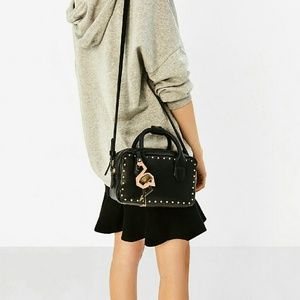 Zara Bags - Zara Black Studded Bowling Bag with Flamingo