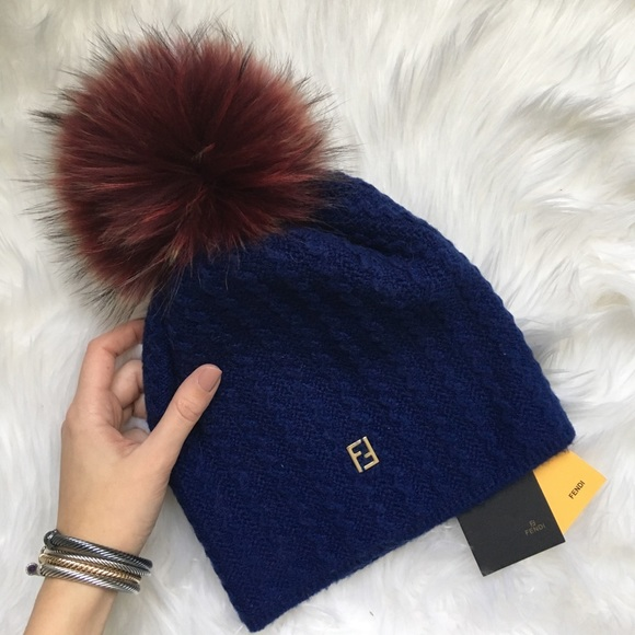 Auth New Fendi Fur Pom Beanie Hat 1fcf8f75d5e