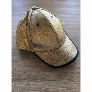 Accessories - Gold metallic and navy baseball hat