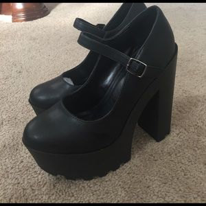 Tall Mary Jane platform black heels nasty gal NEW