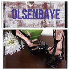 Olsenboye Shoes - Olsenbaye blk patent leather strappy platforms