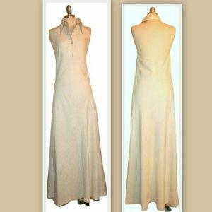 1970s Linen Maxi Vintage Halter Dress