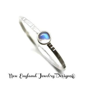 999 Sterling Silver Moonstone Ring