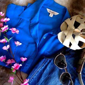 Decree Tops - Blue Sheer Sleeveless Button-Up Blouse