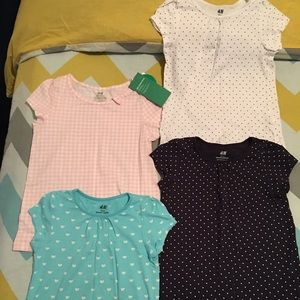 4 H&M tops.  2 never worn(pink & red with white)