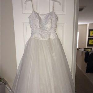 Wedding Dress - White w/Pearl & Bead Detail
