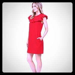 Trina Turk Dresses & Skirts - Trina Turk red ruffle sheath dress