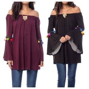 NEW Off The Shoulder Boho Tunic Top
