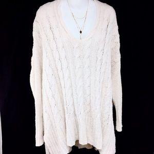 Free People Cream Cotton Oversized Sweater (M)