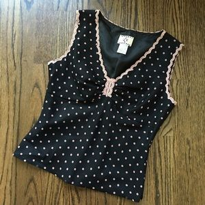 Ice Tops - Lined 100% Silk romantic dot sleeveless blouse 6