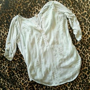 "ANTHROPOLOGIE ""TINY"" SILK MIX HIGH LOW BLOUSE"