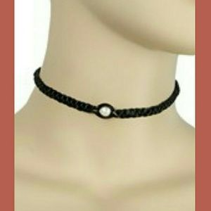 Faux Leather Pearl Choker