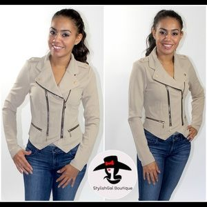 Jackets & Blazers - Beige Moto Jacket