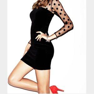 Juicy Couture M black velvet polka dot dress 💄