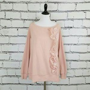 Self Esteem Tops - Pink Lace Sweatshirt!