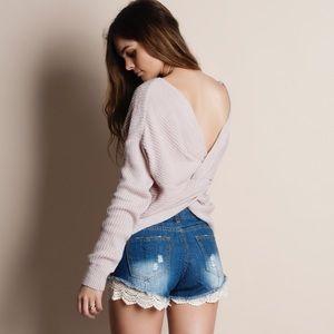 Twist Back Reversible Sweater Top
