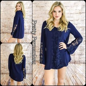 Pretty Persuasions Dresses & Skirts - SALE‼️ Navy Floral Lace Crochet Bell Sleeve Tunic