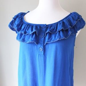 Anthropologie Ruffle Cap Sleeve Pleated Blouse