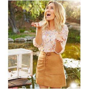 LC Lauren Conrad Dresses & Skirts - LAUREN CONRAD CARAMEL LACE-UP FAUX SUEDE SKIRT