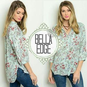 Bella Edge Tops - Mint floral 3/4 sleeve button down blouse