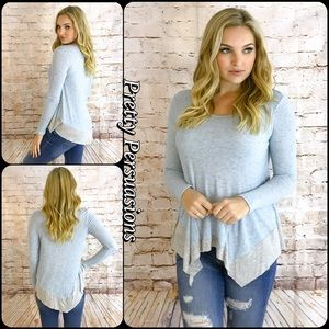 Pretty Persuasions Tops - Blue & Gray Long Sleeve Asymmetrical Jersey Top
