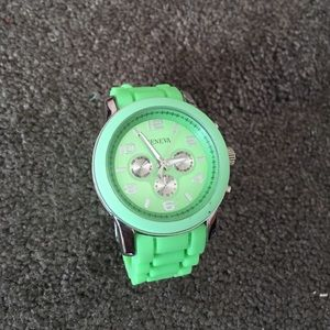 Geneva Accessories - Geneva lime green multi-faced watch model 11293 T.