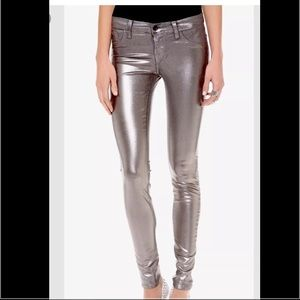 J Brand Coated Denim Metallic Skinny Jeans NWOT