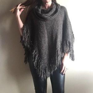 Bandolino Sweaters - Cowl neck fringed poncho sweater
