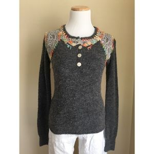 Free People Sweaters - Free People soft grey embellished sweater sz S/M