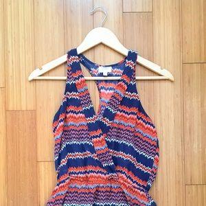 Parker Navy Blue & Orange Silk Dress SZ XS