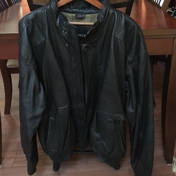 Black Mens Vintage Pierre Jacket Cardin Leather n8OXwP0k