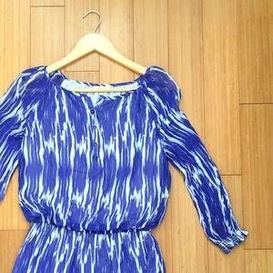 Shoshanna Blue & White Chiffon Silk Dress SZ 0