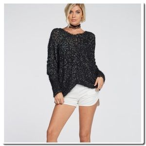 Sweaters - V Back Loose Knit Sweater