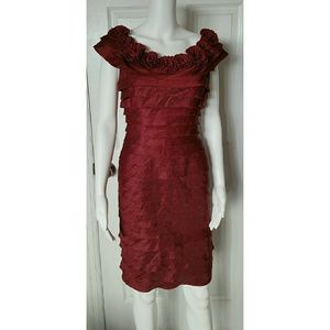 London Times Dresses & Skirts - LONDON TIMES red rose collared ruffle dress.