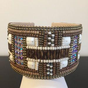 Jewelry - NWT Art Deco pattern beaded bracelet cuff