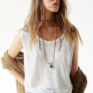 Free People leather blue stone layered necklace