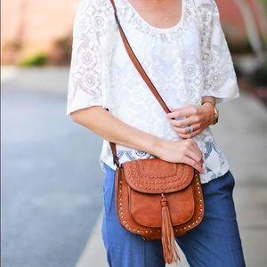 Antik Kraft Handbags - Tan Studded Cross-Body Bag w/ Tassel