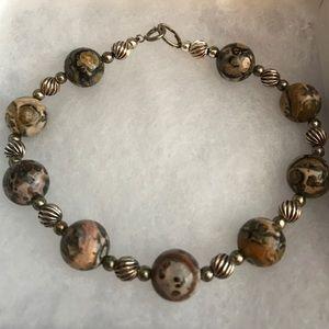 Jewelry - VTG Leopard Jasper and sterling silver bracelet