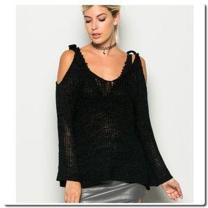 Sweaters - Open Shoulder Crochet Top
