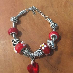 Jewelry - Charm Bracelet Red and Silver Heart Beads
