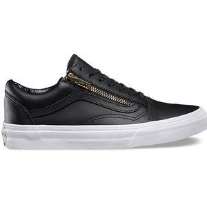 Vans Leather Old Skool Zip Sneaker (Black)