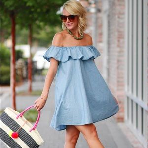 Chambray OTS Dress
