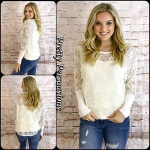 Pretty Persuasions Tops - NWT Floral Lace Long Dolman Sleeve Solid Cuff Top