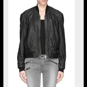 Helmut Lang leather bomber jacket