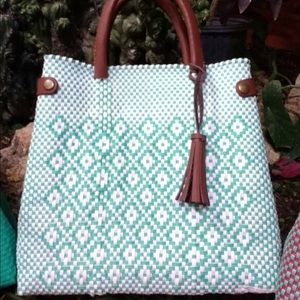 AVAILABLE NOW! Hand Woven Tote Handbag Blue Brown